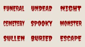 Halloween relative words and silhouettes on them. Stock Images