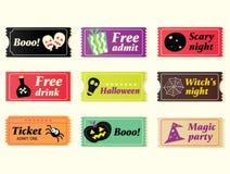 halloween retro biletów wektor Zdjęcia Royalty Free
