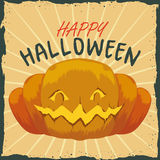 Halloween Retro Poster with Pumpkin Stock Photography