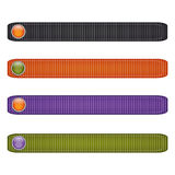 Halloween ribbon set with  buttons.black,orange, green and purple. Royalty Free Stock Image