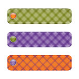 Halloween ribbon set with  buttons.orange green and purple plaid Stock Image