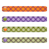Halloween ribbon set with  buttons.orange, green,and purple plaid. Royalty Free Stock Image