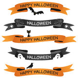 Halloween Ribbons or Banners Set. Collection of Halloween party ribbons or banners in two different colors (orange and black) with Halloween elements (bat Stock Photo