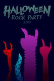 Halloween 2017 rock party background template set, devil monster Stock Image