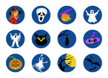 Halloween round icons set. Vector illustration Stock Photo