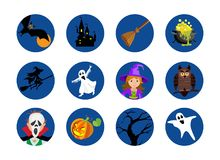 Halloween round icons set. Vector isolated illustration Royalty Free Stock Photos