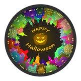 Halloween round town and lantern background Royalty Free Stock Photo