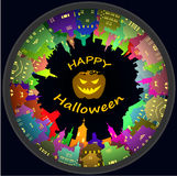 Halloween round town and lantern background Royalty Free Stock Image