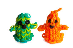 Halloween rubber bands happy ghosts orange. Royalty Free Stock Image