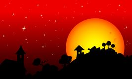 Halloween rural skyscape. Halloween red starry sky, rural black skyline silhouette with moon Royalty Free Stock Photos