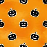 Halloween rzeźbiąca pączuszku bezszwowy wzoru Wielobok pomarańcze tło Obrazy Royalty Free