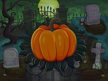 Halloween rzeźbiąca pączuszku Na cmentarnianym tle Obrazy Royalty Free