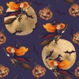 halloween Sömlös modell med en häxa, pumpa, måne, slagträ fantastisk illustration Älskvärd flicka på en kvast purpurt stock illustrationer