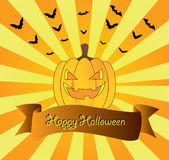 Halloween's card. Beautiful festive picture with a pumpkin and beams on the Halloween Royalty Free Stock Images