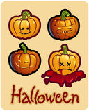 Halloween's drawing - four pumpkin heads of Jack. O-Lantern ; one is bleeding Stock Photography