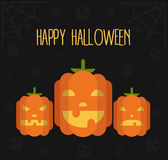 Halloween's illustration. Happy Halloween flat vector illustration with three scary pumpkins, skulls and spider's web Royalty Free Stock Image