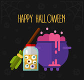 Halloween's illustration. Happy Halloween flat vector illustration with witch's broom, bottle with eyes, pot with boiling magic potion, skulls and spider's web Stock Photo