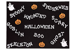 Halloween słowa na czarnej macie Zdjęcia Stock