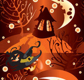 Halloween. 's pattern with moon and house Royalty Free Stock Image