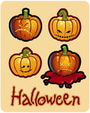 Halloween's pumpkin heads of Jack-O-Lantern. Halloween's drawing - four pumpkin heads of Jack-O-Lantern ; one is bleeding Royalty Free Stock Images