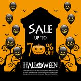 Halloween sale background. Halloween gravestones and sale text on orange color background Stock Photo