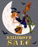 Halloween sale background with sexy witch and moon. Vector illustration Royalty Free Stock Photos