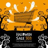 Halloween sale background. Halloween shopping cart and sale text on orange color background Royalty Free Stock Image
