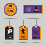 Halloween sale badges with spooky,cat,pumpkin lantern and witch Stock Photos