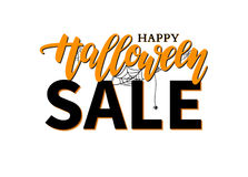 Halloween Sale  banner with lettering, spider and web. Gre Stock Images