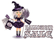 Halloween sale banner with little witch Stock Photo