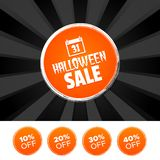 Halloween Sale banner and 10%, 20%, 30% & 40% Off Marks. Vector illustration. Halloween Sale banner and 10%, 20%, 30% & 40% Off Marks. Eps10 Vector illustration Royalty Free Stock Photography