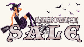 Halloween sale banner with sexy witch. Vector Royalty Free Stock Images