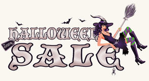 Halloween sale banner with sexy witch. Vector illustration Royalty Free Stock Photo
