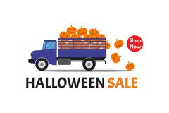Halloween sale banner with truck carry smile pumpkin stock photo