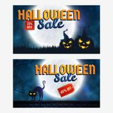 Halloween sale banners. Halloween discount banners. Set of labels with spooky night backgrounds, full moon, black cat and pumpkins. Template for web advertising Royalty Free Stock Image