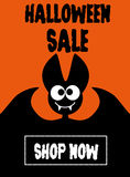 Halloween sale bat on orange background Royalty Free Stock Image