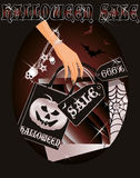 Halloween sale card with shopping witch bags Stock Image