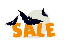 Halloween sale with flying bats. Time for halloween sale. Sale advertisement with flying bats. Halloween theme clean design Royalty Free Stock Photography