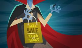 Halloween Sale Holiday Seasonal Discount Concept Monster Hand Holding Shopping Bag Royalty Free Stock Images