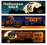 Halloween sale horizontal banner set. Up to 50% discount and This weekend only Stock Photos