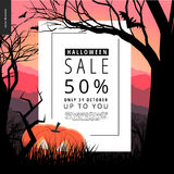 Halloween Sale illustarted notice poster. Halloween Sale notice illustrated poster. Vector cartoon illustration of a forest landscape with a pumpkin and flying Stock Images