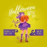 Halloween sale illustrative design concept Royalty Free Stock Photos