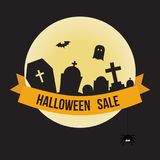 Halloween sale offer design template for greeting card, ad, prom royalty free illustration