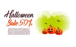 Halloween  background with pumpkin, full moon for sale Stock Images