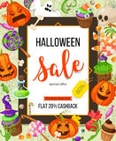 Halloween sale offer design template.Vector background with pumpkin, ghost, candy in flat style. Retro cartoon style Royalty Free Stock Images