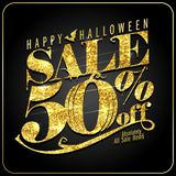 Halloween sale 50 percents off, poster with golden text. Halloween sale 50 percents off, vector poster with golden text stock illustration