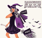 Halloween sale postcard with sexy witch. Vector illustration Royalty Free Stock Photography
