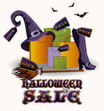 Halloween sale poster card, vector Royalty Free Stock Images