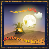 Halloween Sale poster with Moon, ghost, owl, tree. Royalty Free Stock Images