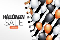 Halloween sale poster page with helium black, white, and orange balloons on a striped background covered by a torn out sheet of pa